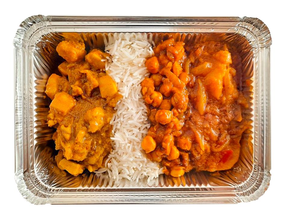 Savory chicken curry, chana (chickpeas) masala, aloo (potatoes) and served with basmati rice.