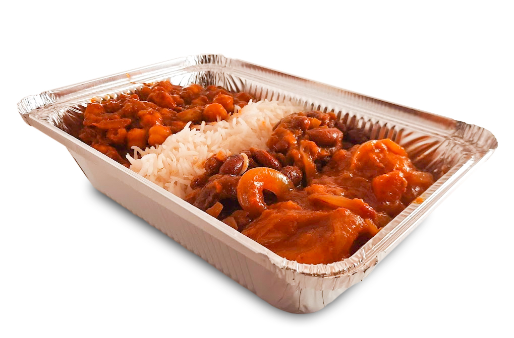 A wonderful combination of vegan dishes consisting of rajma (kidney beans), chana (chickpeas) masala, aloo (potatoes) and served with basmati rice.